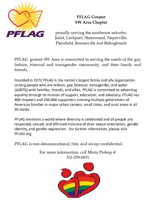 PFLAG ~ serving the needs of gay, lesbian, bisexual and transgender community and their family and friends!