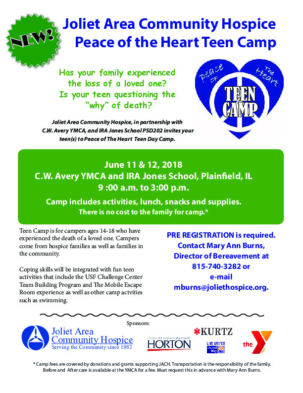 Joliet Area Community Hospice Peace of the Heart Teen Camp