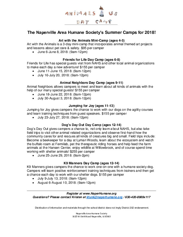 2018 Summer Camps at Naperville Area Humane Society