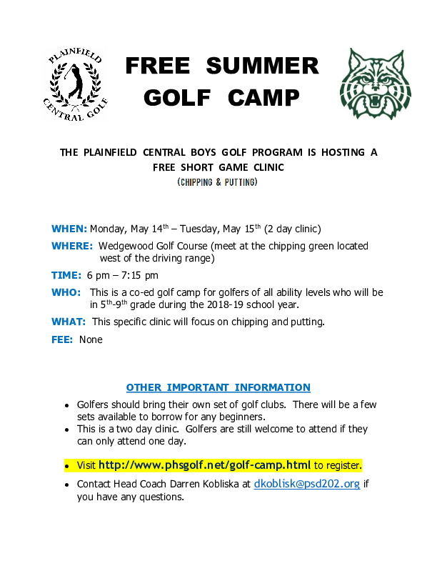 PLAINFIELD CENTRAL HIGH SCHOOL GOLF CLINIC(GRADES 5TH -9TH) INCOMING 2018-19
