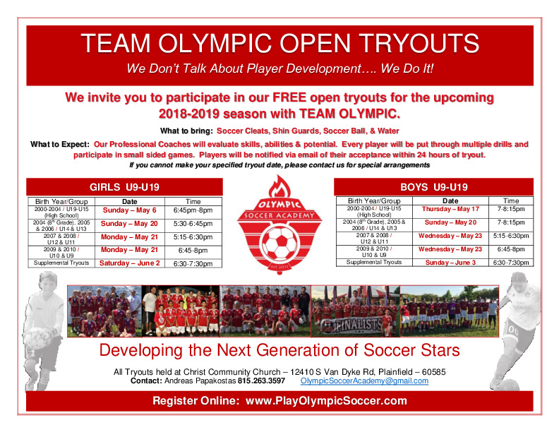 Team Olympic Tryouts - Plainfield