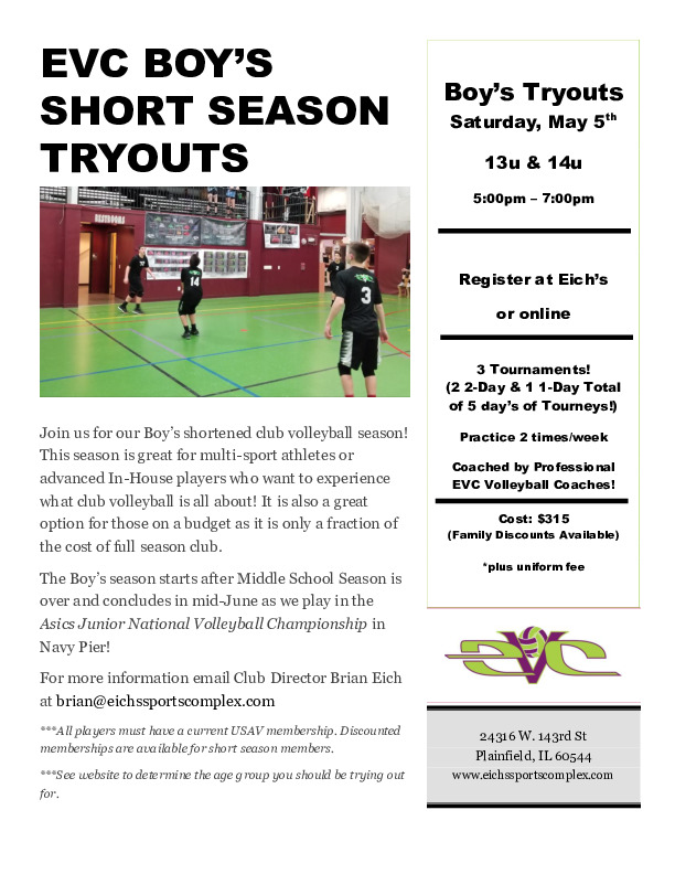 EVC Boy's Spring Season Club Volleyball Tryouts