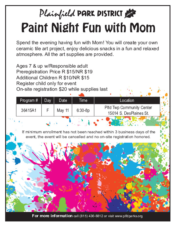 Paint Night Fun with Mom: Plainfield Park District