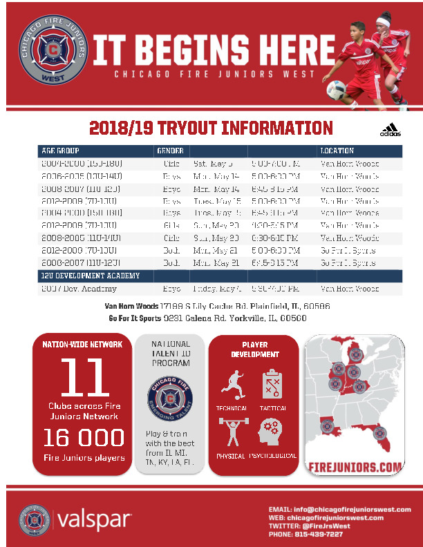 Chicago Fire Juniors West 2018-19 Tryouts