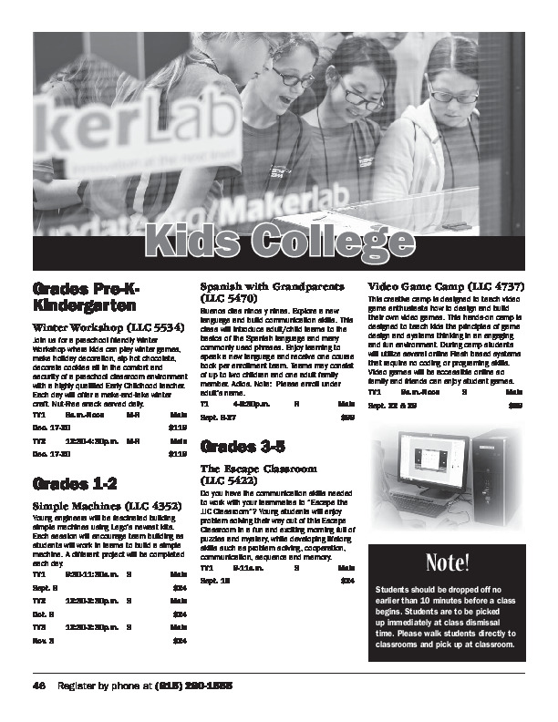 Kids College - Fall Schedule