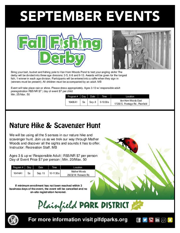 September Events: Plainfield Park District