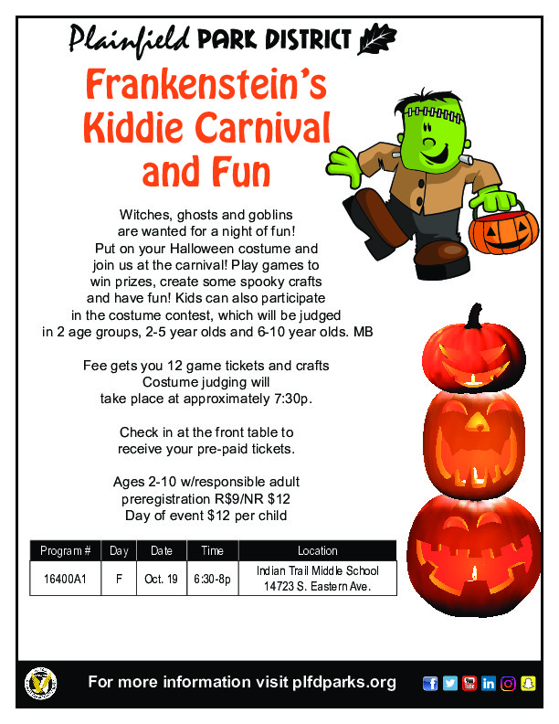 Frankenstein's Kiddie Carnival: Plainfield Park District