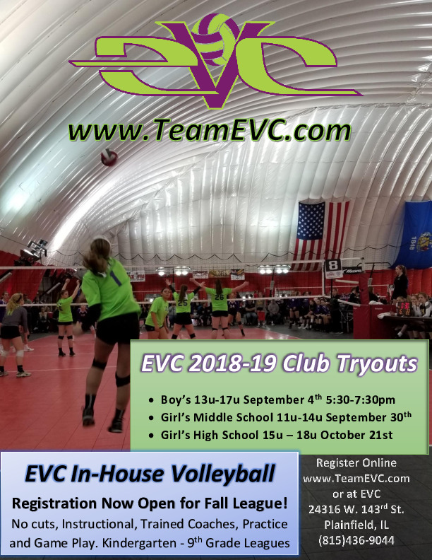EVC (Eich's Volleyball Club) Club & In-House Volleyball Registration is NOW Open!
