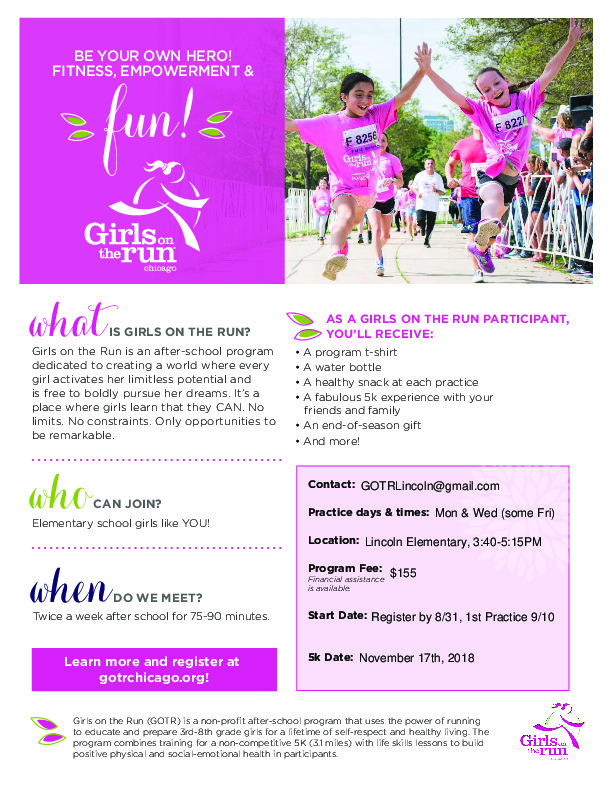 Girls On the Run, Lincoln Elementary