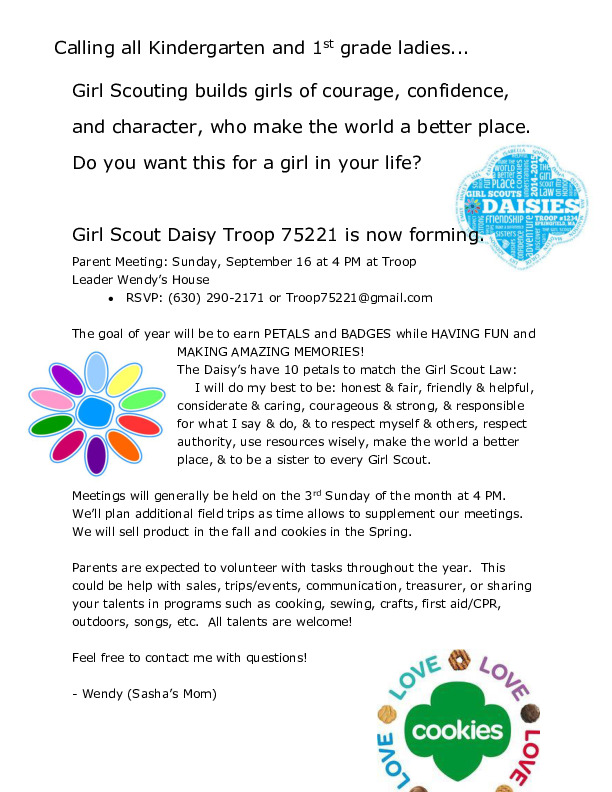 Daisy Girl Scout troop forming (K and 1st grade)