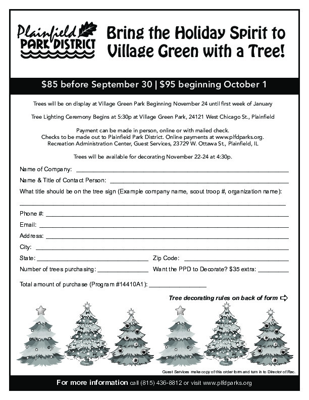 Grinchmas on the Green Trees are on Sale Now at Plainfield Park District!