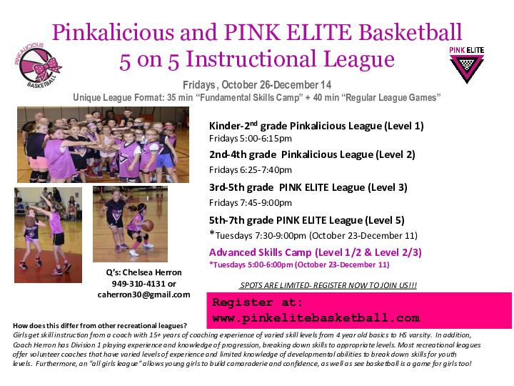Pinkalicious  & PINK ELITE 5 on 5 Instructional Basketball League