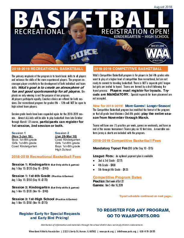 WAA Recreational & Competitive Indoor Basketball