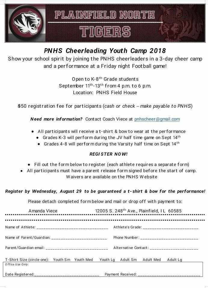 Plainfield North Cheerleading Youth Camp 2018