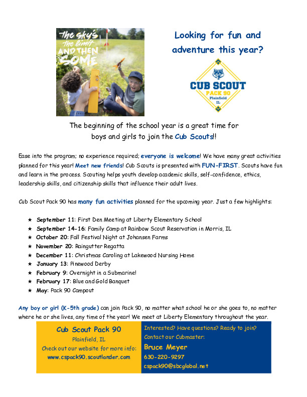 Join Cub Scout Pack 90 (Meetings at Liberty)