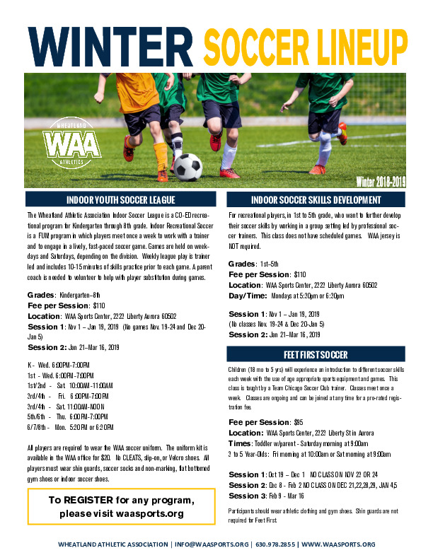 WAA Indoor Soccer Leagues & Classes
