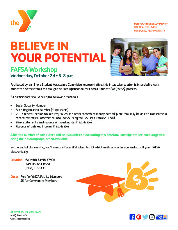 YMCA Free Application for Federal Student Aid (FAFSA) Workshop