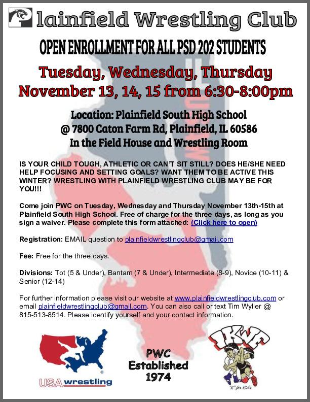 Plainfield Wrestling Club Open Enrollment and Free Classes Tues-Thurs Nov 13-15