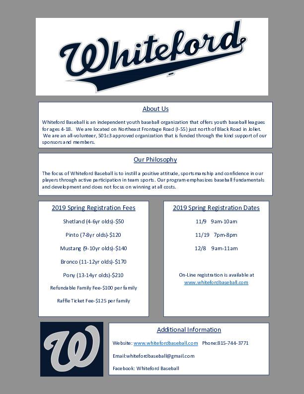 2019 Whiteford Spring Baseball Registration