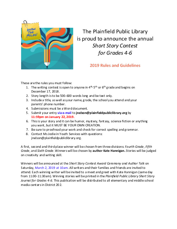Short Story Contest for Grades 4, 5 & 6
