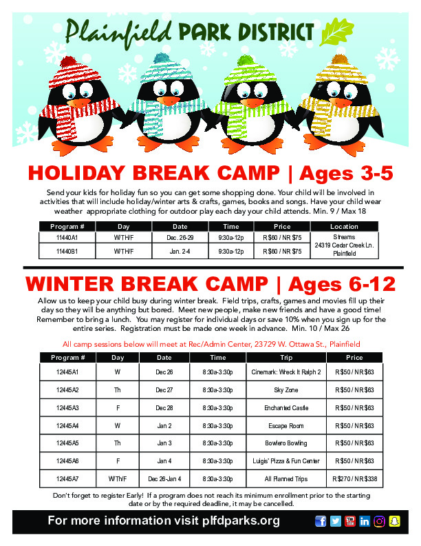 Holiday Break Camps at Plainfield Park District