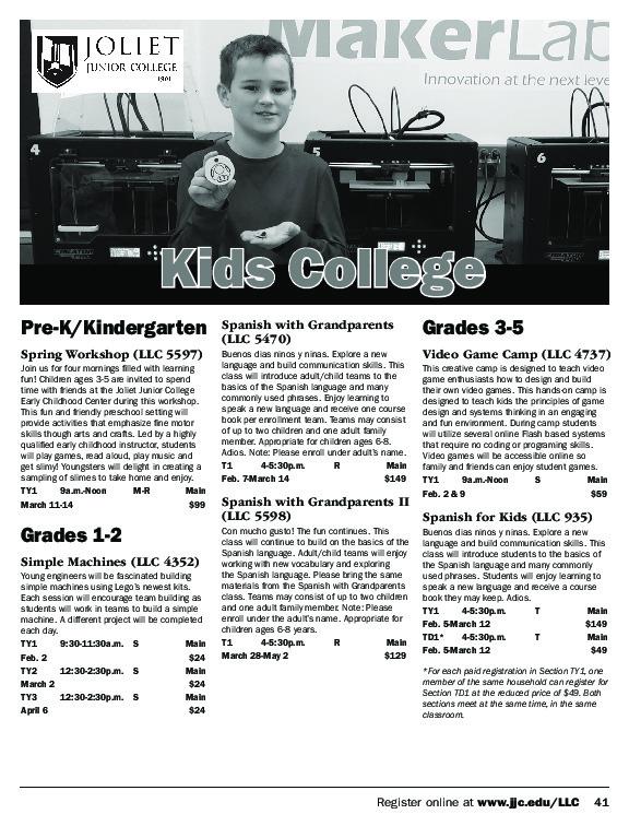 Kids College - Fall Schedule