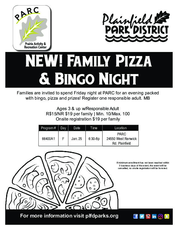 Family Pizza and Bingo Night: Plainfield Park District