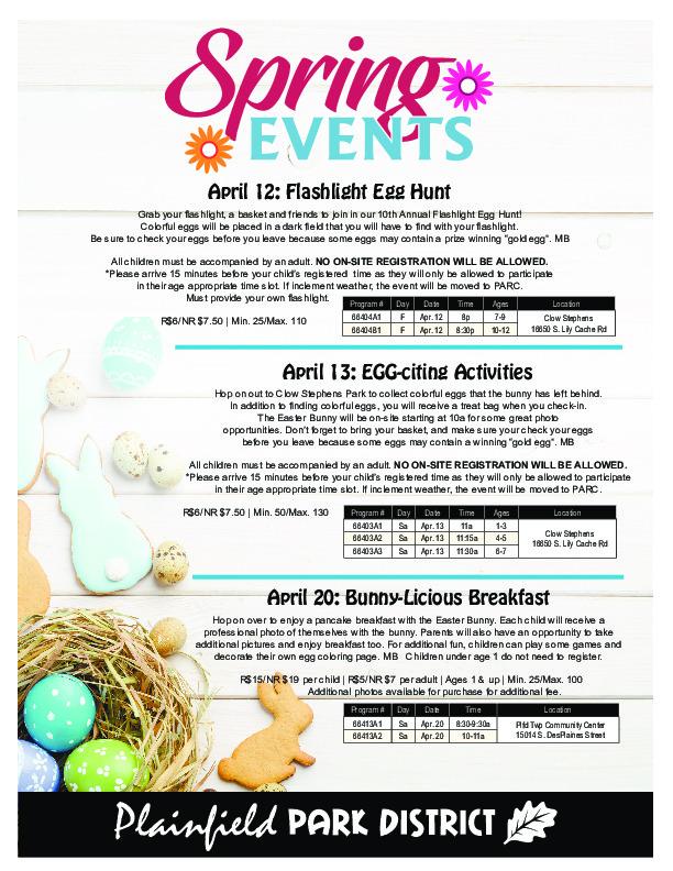 Easter Egg Hunt Events: Plainfield Park District