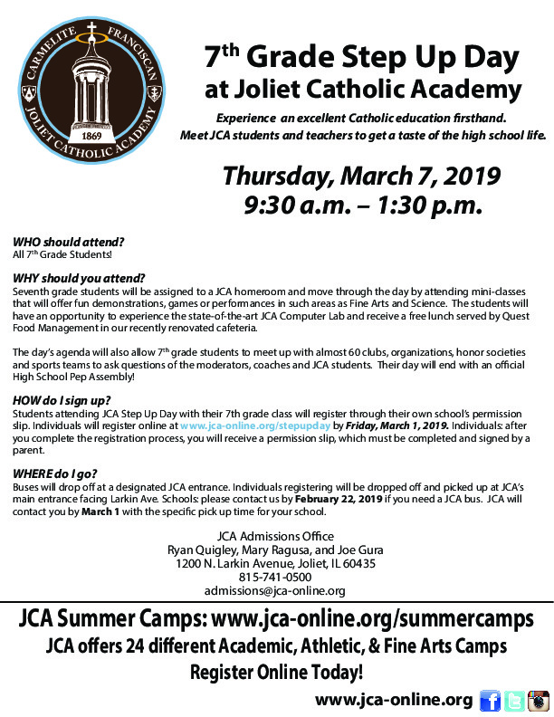 Joliet Catholic Academy to host Step Up Day for area 7th grade students Thurs. 3/7