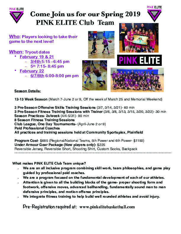 PINK ELITE Club Team Tryouts (3rd-8th Grade)