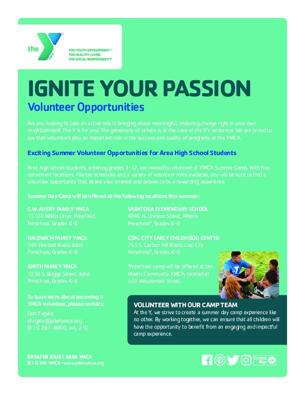 YMCA Teen Volunteer Opportunities