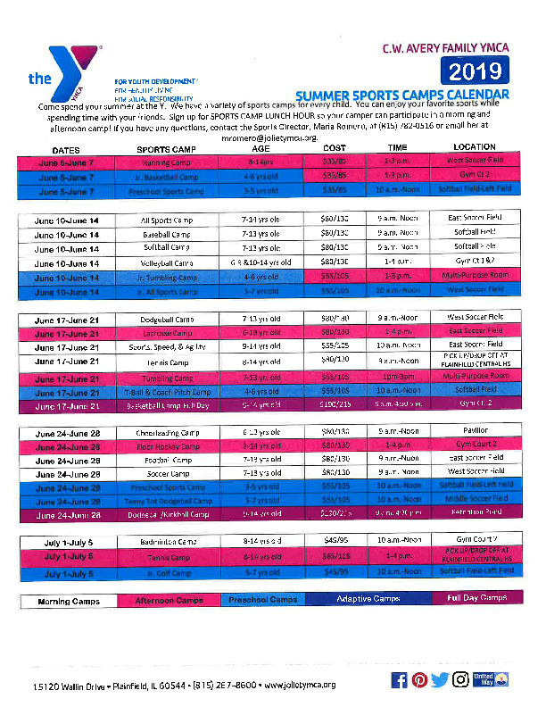 Summer Sports Camp Schedule