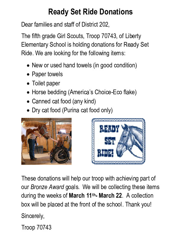 5th Grade GS Troop 70743~Ready Set Ride Donations!