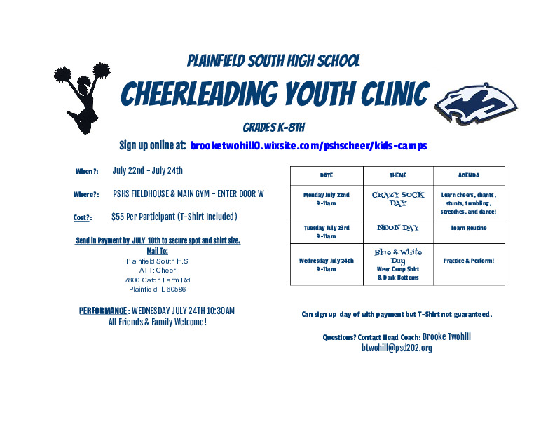Cheerleading Kids Camp (K-8th) at Plainfield South H.S