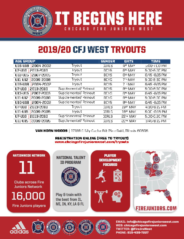 Chicago Fire Juniors West Tryouts 2019