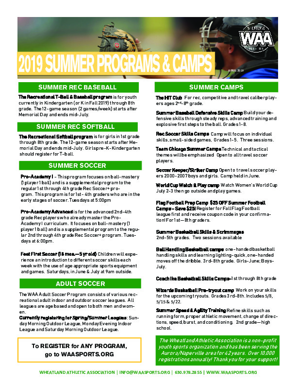 WAA Summer Leagues and Camps