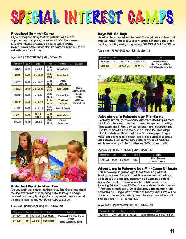 Special Interest Camps: Plainfield Park District