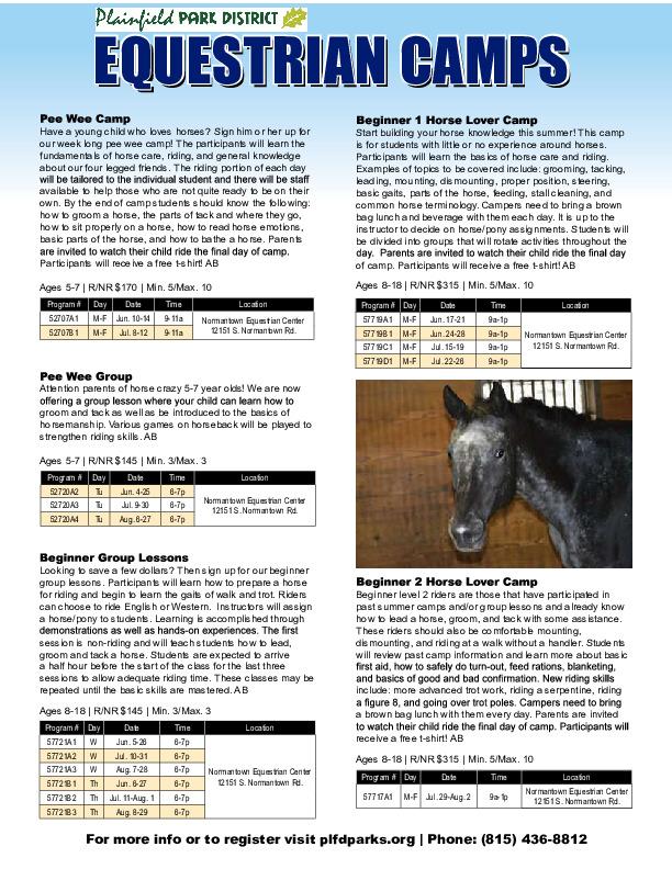 Equestrian Camps: Plainfield Park District