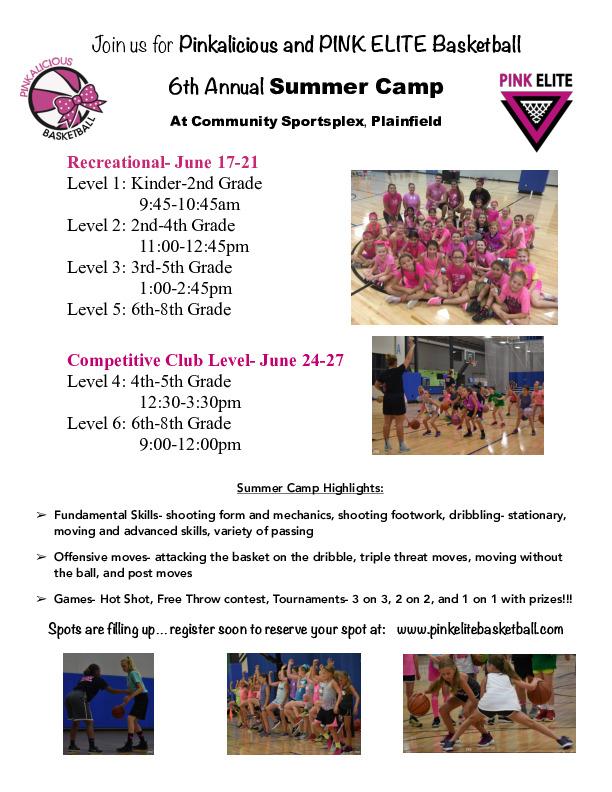 PINK ELITE & Pinkalicious Summer Basketball Camp 2019
