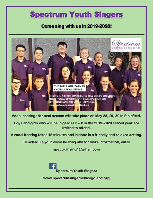 Join Spectrum Youth Singers in 2019-2020