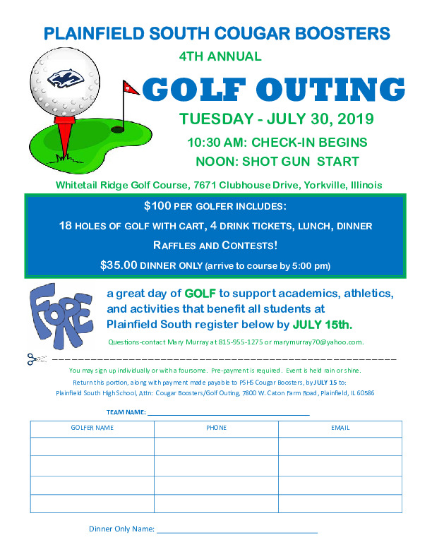 Plainfield South Cougar Boosters 4th Annual Golf Outing