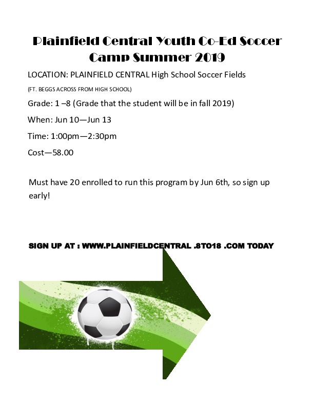 Plainfield Central Youth Soccer Camp