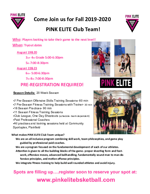 PINK ELITE Club Team Fall 2019-2020