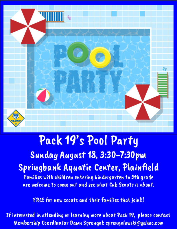 Cub Scout Pack 19 Pool Party