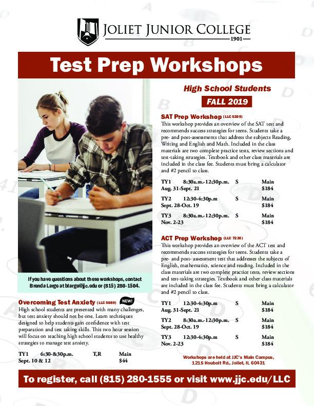 Test Preparation Workshops at Joliet Junior College