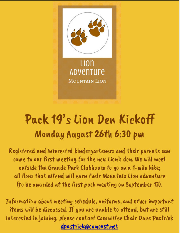 Cub Scout Pack 19 Lion Den Kickoff