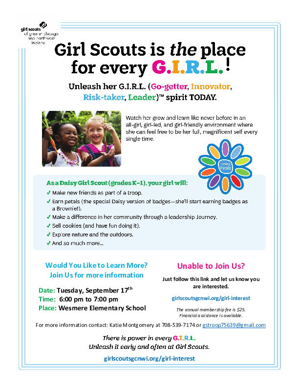 New Daisy Troop Open House at Wesmere!