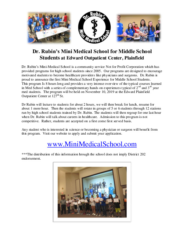 2019 Mini Medical School Experience for Middle School Students