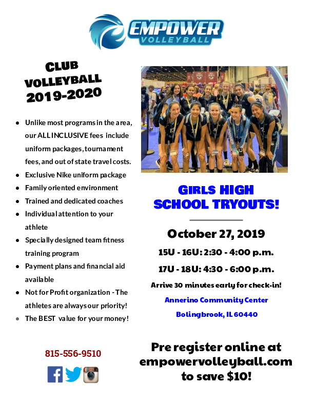 Empower Volleyball Club Tryouts