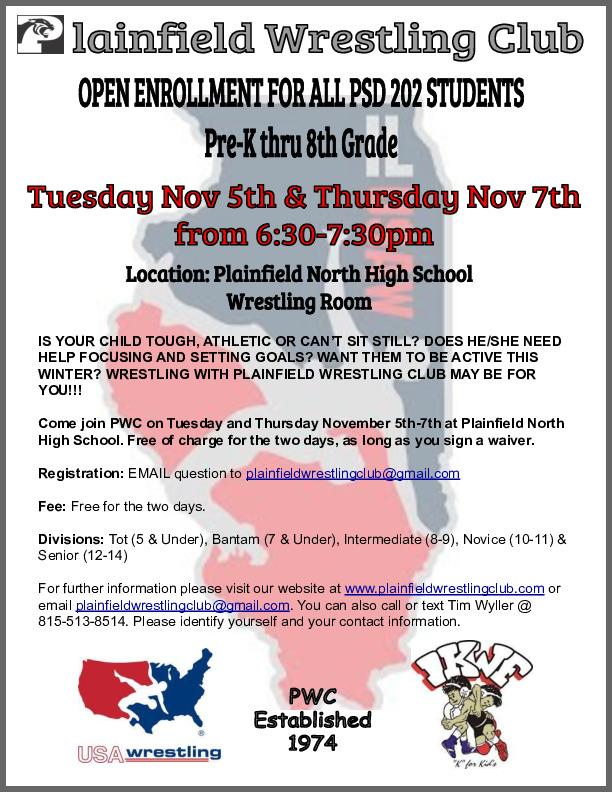 Kinder-8th Grade Wrestling Club (Plainfield, IL) Plainfield Wrestling Club